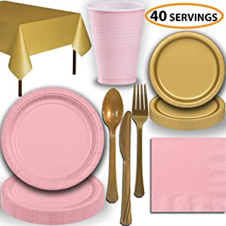 Disposable Party Supplies, Serves 40 - Light Pink and Gold - Large and Small Paper Plates, 12 oz Plastic Cups, Heavyweight Cutlery, Napkins, and Tablecloths. Full Two-Tone Tableware Set
