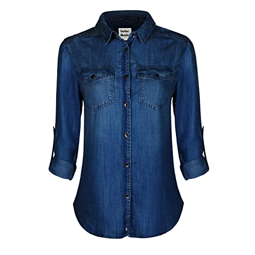 946eb5fc Instar Mode Women's Basic Classic Long/Roll Up Sleeve Button Down Chambray Denim  Shirt Tunic