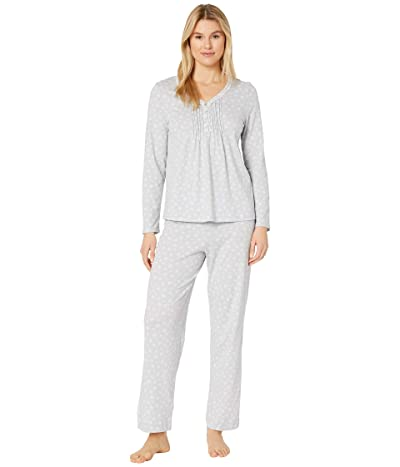 Carole Hochman Soft Jersey Long Pajama Set (Grey Snowflake) Women