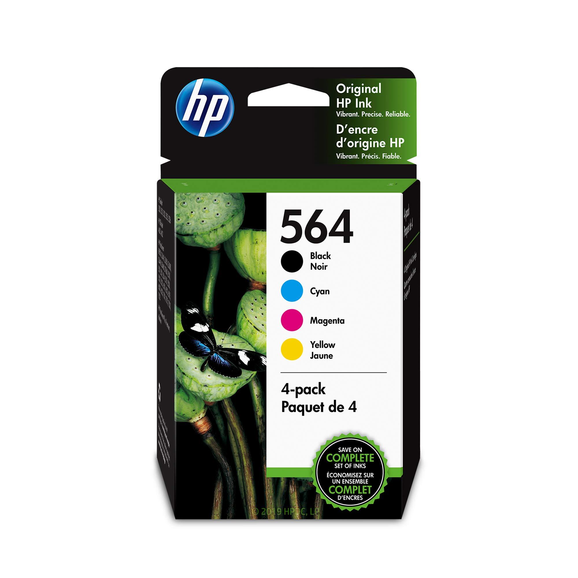 4 Pack Genuine HP 564 Set Ink Cartridges Black Cyan Magenta Yellow No Box