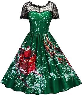 11b91afddec Col en Dentelle Creux Femmes imprimé Motif Encolure Ronde de Noël Swing  évasée midi Robe Costume