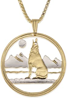 Wolf Pendant & Necklace, Canada 50 Cents Coin Hand Cut