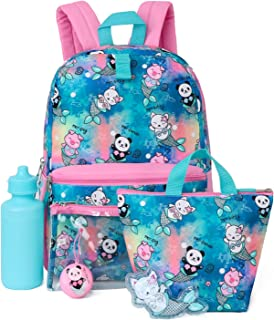 Kids 6 in 1 Backpack Set With Backpack, Lunch Box, Pencil Case & More (Mermaid/Animals)