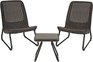 Keter Rio 3 Piece Resin Wicker Furniture Set with Patio...