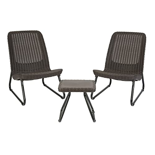 f2a346fa52 Keter Rio 3 Pc All Weather Outdoor Patio Garden Conversation Chair & Table  Set Furniture,