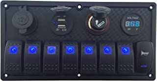 IZTOSS 12V-24V DC 8 Gang Waterproof Marine Blue led Switch Panel with Double led Power Socket Cigarette Lighter Horn Switch and 4.2A USB Voltmeter