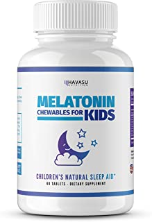 Havasu Nutrition Melatonin Chewable for Kids with Melatonin & Vitamin D, Valerian Root, and Chamomile Designed for Healthy Sleep Cycle, 60 Chewables