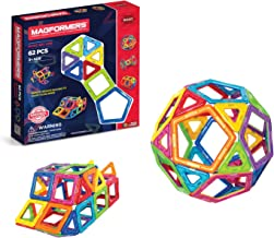 Magformers Basic Set (62-pieces) Magnetic Building Blocks, Educational Magnetic Tiles, Magnetic Building STEM Toy, Multi-c...