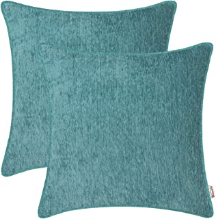 BRAWARM Pack of 2 Cozy Throw Pillow Covers Cases for Sofa Couch Bed Solid Dyed Soft Chenille Striped with Piping Both Sides for Home Decoration 20 X 20 Inches Teal