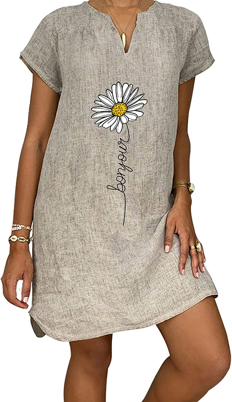Women's Short Dress Summer V-Neck Short Sleeve Casual Hot Vacation Printing Mini Shift Dress