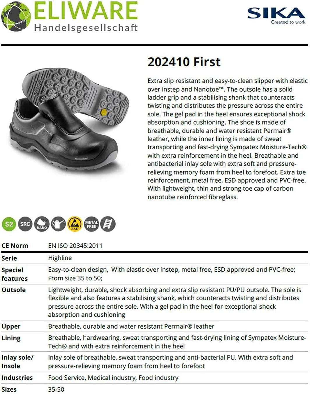 SIKA 202410 First Chaussures de s/écurit/é S2 SRC Id/éal pour h/ôtel//Restaurant//Cantine Industrie pharmaceutique et Alimentaire