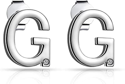 Initial Earrings Letter G Created with Austrian Crystals
