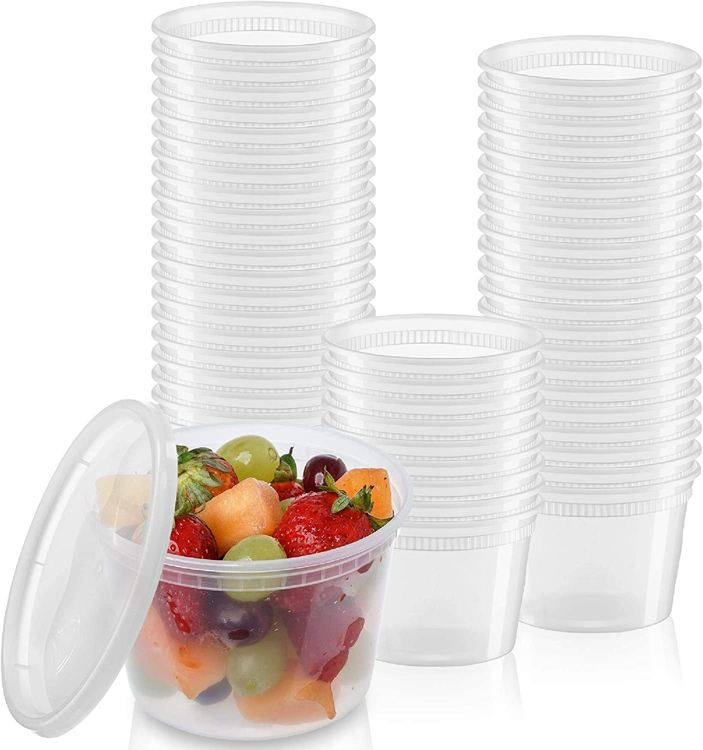 24 Sets - 16 oz. Plastic Deli Containers Storage New mail order Food Freezer Store