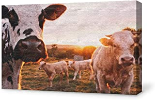 SIGNFORD Canvas Wall Art for Living Room,Bedroom Home Artwork Paintings Cow Ready to Hang - 12x18 inches