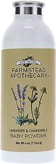 Farmstead Apothecary 100% Natural Baby Powder (Talc-Free) with Organic Tapioca Starch, Organic Chamomile Flowers, Organic Calendula Flowers, Lavender & Chamomile 4 oz