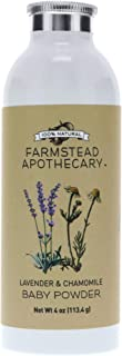 Farmstead Apothecary 100% Natural Baby Powder (Talc-Free) with Organic Tapioca Starch, Organic Chamomile Flowers, Organic Calendula Flowers, Lavender & Chamomile 4 oz