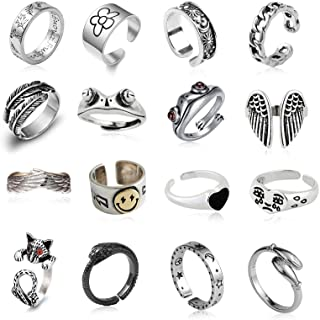 16 Pcs Silver Plated Frog Rings Set, Cute Animal Open...