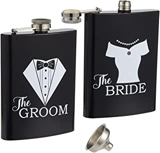 Liquor Flasks – 2-Piece, 8 Oz Bride and Groom Pocket Drinking Flasks, Stainless Steel Flask Set with Funnel, Wedding Gifts for Newlyweds, Black and White