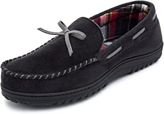 RockDove Men's Flannel Lined Moccasin Slipper with Memory Foam