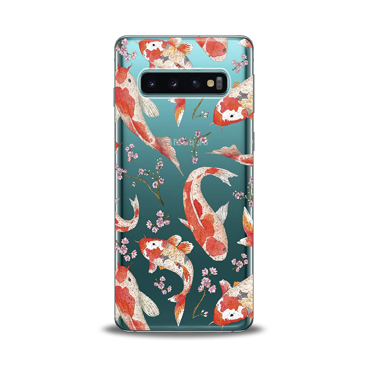Lex Altern TPU Case for Samsung Galaxy s10 5G Plus 10e Note 9 s9 s8 s7 Awesome Orange Koi Fishes Clear Silicone Cover Red Print Protective Pink Branches Lightweight Flexible Girl Transparent Present