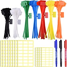 SIQUK 160 Pieces Zip Tie Tags Colorful Zip Tie Labels in 4/6 Inches Self Locking Cable Tie Marker with 288 Pcs White Labels and 3 Pcs Marker