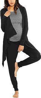 ملابس الاسترخاء للحوامل من 3 قطع من آنجل: قميص الرضاعة - كارديجان الخيزران - مزيج من القطن والخيزران/القطن