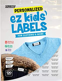 120 Custom Personalized Self Stick Clothing Name Labels | School, Camp, Nursing Care, Toys, Organizing, All Purpose | Ez Kids and All Ages | Washer, Dryer & Dishwasher Safe | Waterproof | No-Iron