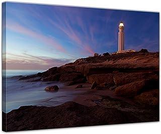 Bilderdepot24 Cuadros en Lienzo Faro de Trafalgar Cadiz - 40 x 30 cm - Listo tensa, Directamente Desde el Fabricante