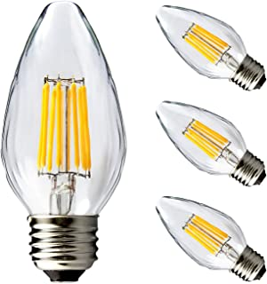 BRIMAX F15 8W Led Porch Light Bulb Outdoor, LED Post Bulb for 75W - 80W Incandescent Equivalent, E26 Medium Base Dimmable 2700K Warm White Flame Wrinkle Glass, for Ceiling Fan and Lantern Lamp, 4pack