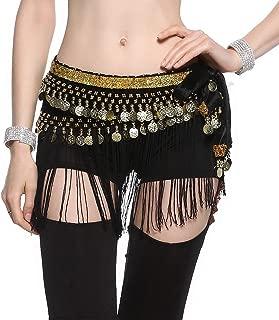 Belly Dance Hip Scarf - Tribal Coins Wave Shape Hip Skirt Belly Dancing Belt Tassel Fringe Shawl Wraps Belts for Women/Girls
