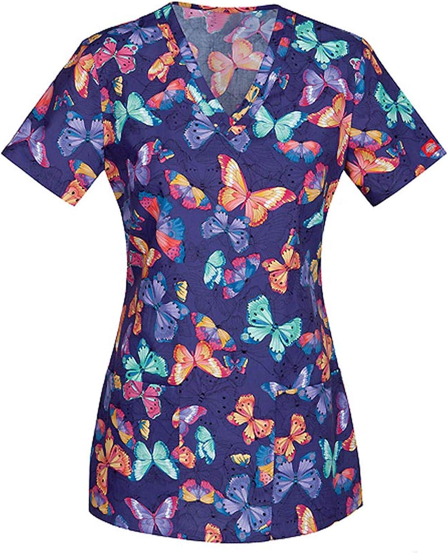 Womens Tops Holiday Blouse Short Sleeve V Neck Working Uniform Christmas Thanksgiving Printing Women/_Scrub/_Top Tee Shirt