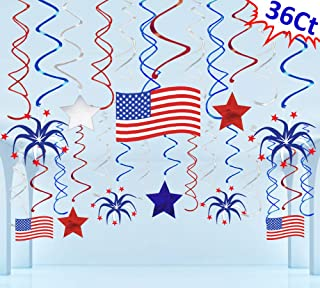 Moon Boat 36 Ct Fourth of July Patriotic Decorations Hanging Swirl - 4th of July American Flag/Stars Red White Blue Party Supplies