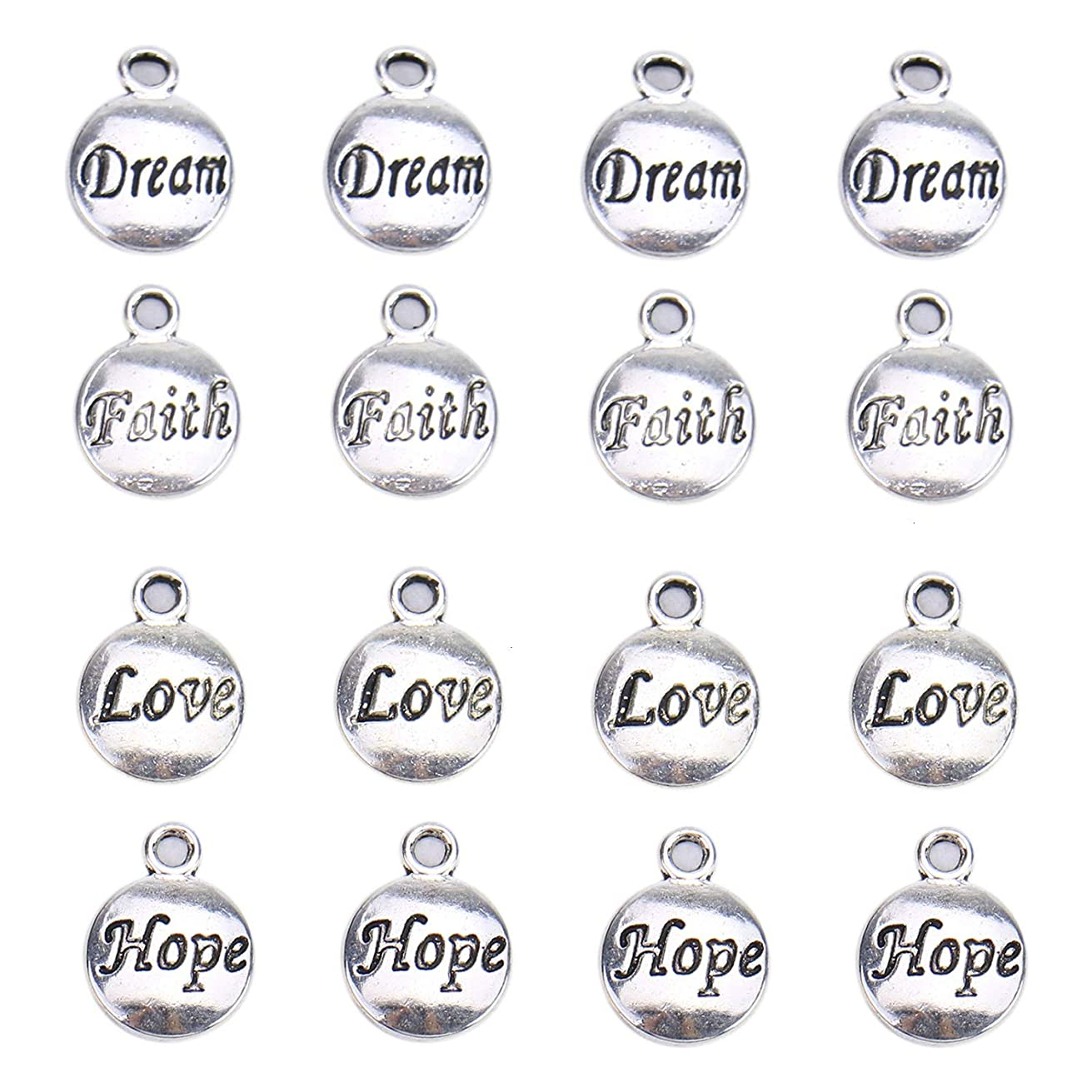 Monrocco 200 Pieces Inspiration Words Charms Craft Supplies Dream, Hope, Love, Faith Charms Pendants for Crafting, DIY Jewelry Making