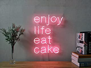 Enjoy Life Eat Cake Real Glass Neon Sign For Bedroom Garage Bar Man Cave Room Home Decor Handmade Artwork Visual Art Dimmable Wall Lighting Includes Dimmer