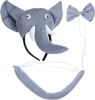 PRETYZOOM Kinder Tier Kostüme Set Elefant Kopf Stirnband mit Ohren Tier Schwanz Fliege für Karneval Coaplay Party Kostüme 3 Stück (Grau)