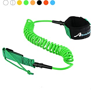 Abahub Premium Coiled SUP Leash, Stand-up Paddleboard Legrope, 10 feet 7 mm Thick, Black/Blue/Clear/Red/Green/Orange/Yellow