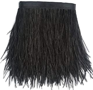 Sowder Ostrich Feathers Trims Fringe with Satin Ribbon Tape Dress Sewing Crafts Costumes Decoration Pack of 2 Yards(Black)