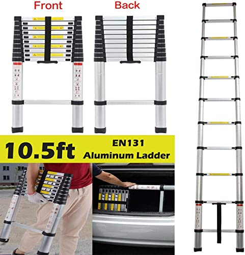 Bowoshen 10.5ft ExtensionLadder Aluminum Telescoping Lightweight Portable Ladders for Home Use Roof RV Outdoor Activities
