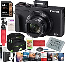 Canon PowerShot G5 X Mark II 20.1MP 4K Digital Camera with 5X Optical Zoom Lens 24-120mm f/1.8-2.8 3070C001 Bundle with Deco Gear Travel Case + 64GB Card + Compact Tripod Accessory Kit and Software