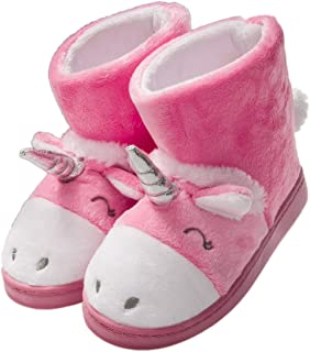 festooning Girls Unicorn House Slippers Cozy Comfy Bootie for Toddler with Memory Foam Pink Size 8 M US
