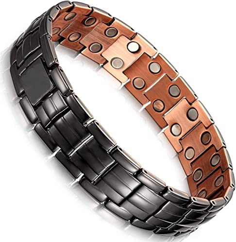 Moneekar Jewels Matt Gun Black Copper Double Row 3500 Gauss Magnetic Therapy Bracelet for Men