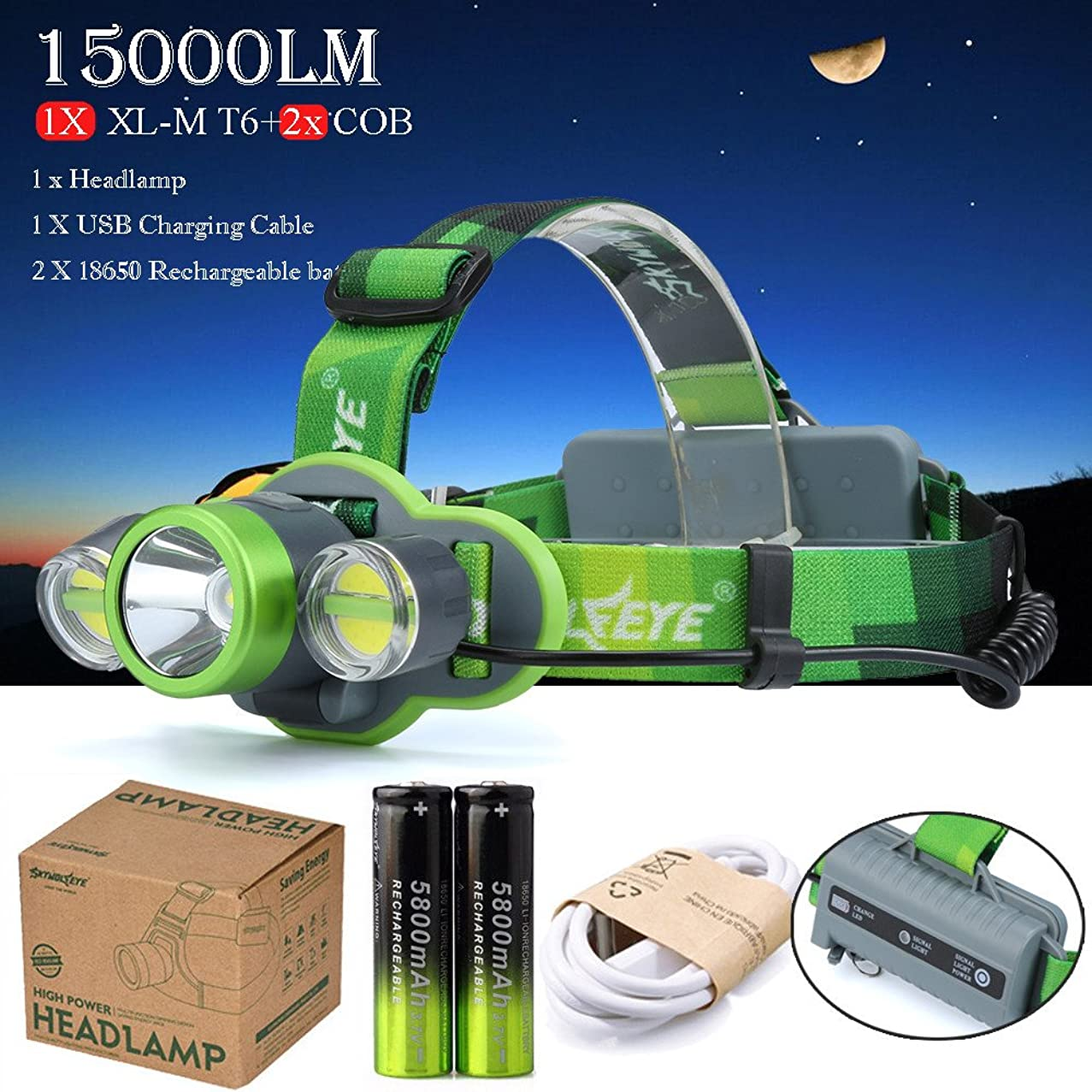 Rechargeable LED Headlamp Brightest 4 Models T6+2x COB 15000 Lumens LED Headlight Waterproof Flashlight with 18650 Rechargable Battery Adjustable Headband Good for Camping Hiking Hunting Fishing