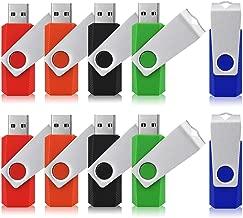 JUANWE 10 Pack 32GB USB Flash Drive USB 2.0 Swivel Thumb Drive Jump Drive Memory Stick Pen Drive - Black/Red/Blue/Green/Orange (32GB, 5 Mixed Color)