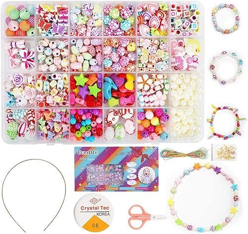 Ucradle Perles pour Enfant, 550pcs Bracelet Bricolage Perles Set Colliers Perle Enfants pour Alphabet Poney, Kit de F...