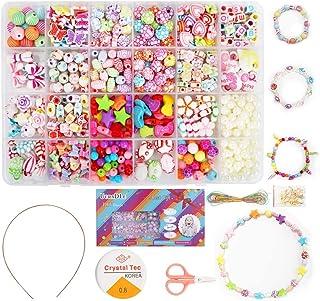 Ucradle Perles pour Enfant, 550pcs Bracelet Bricolage Perles Set Colliers Perle Enfants pour Alphabet Poney, Kit de Fabric...