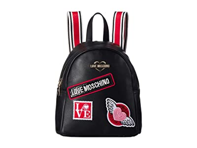 LOVE Moschino Patch Backpack (Nero) Backpack Bags