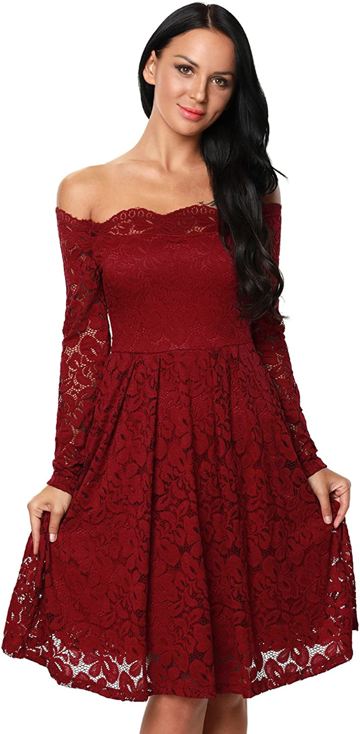 Women's Vintage Floral Lace Long Sleeve Boat Neck Cocktail Formal Swing Dress Small Wine Red