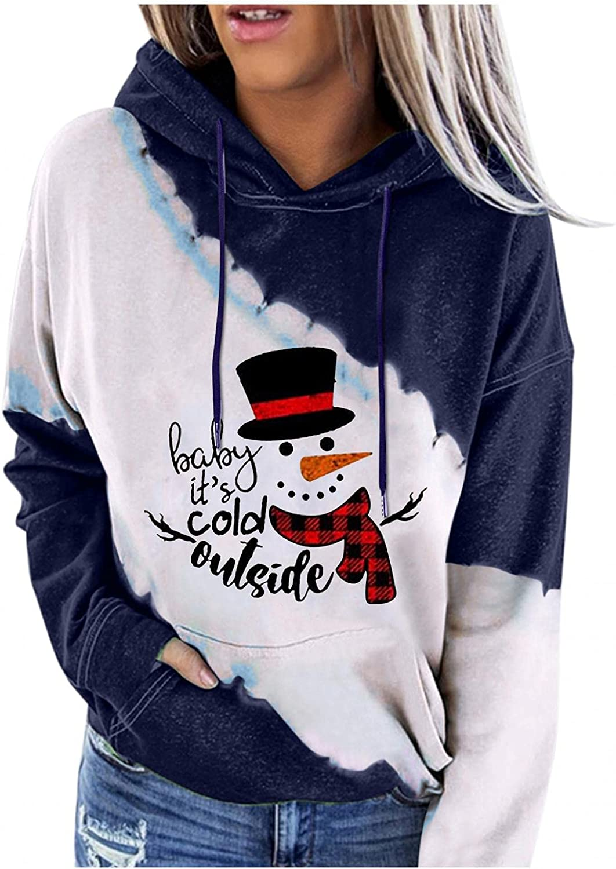 Masbird Womens Hoodies, Womens Christmas Sweatshirt Casual Color Block Drawstring Long Sleeve Pullover Tops Blouse