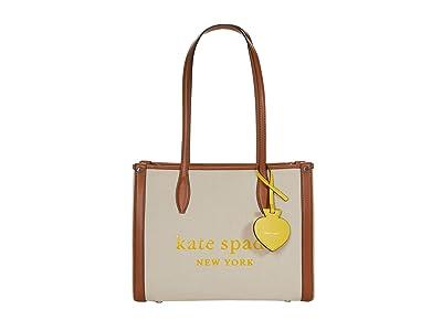 Kate Spade New York Market Canvas Medium Tote (Natural) Handbags