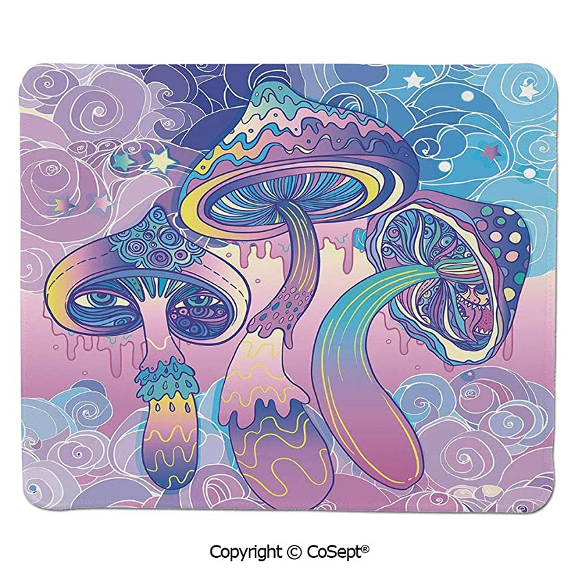 Non-Slip Rubber Base Mousepad,Trippy Drawing Hippie Decor Sixties Visionary Psychedelic Shamanic Decorative,Dual Use Mouse pad for Office/Home (15.74